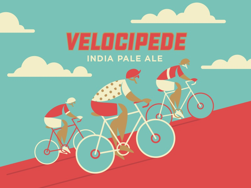 Velocipede Take 2 spped bicycle bike illustration craft beer velocipede ipa beer