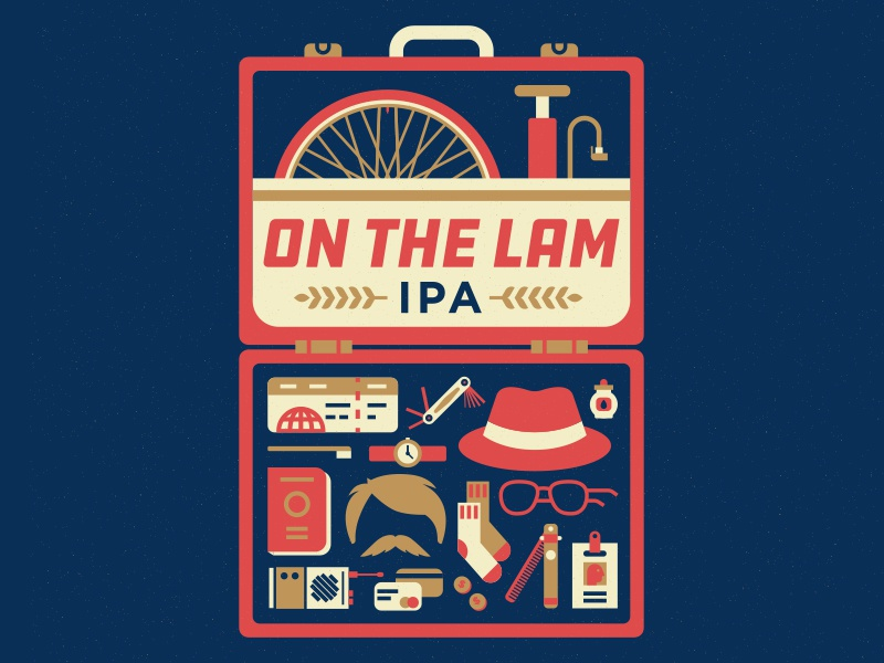 On The Lam IPA label design illustration tire socks disguise travel suitcase ipa beer bicycle