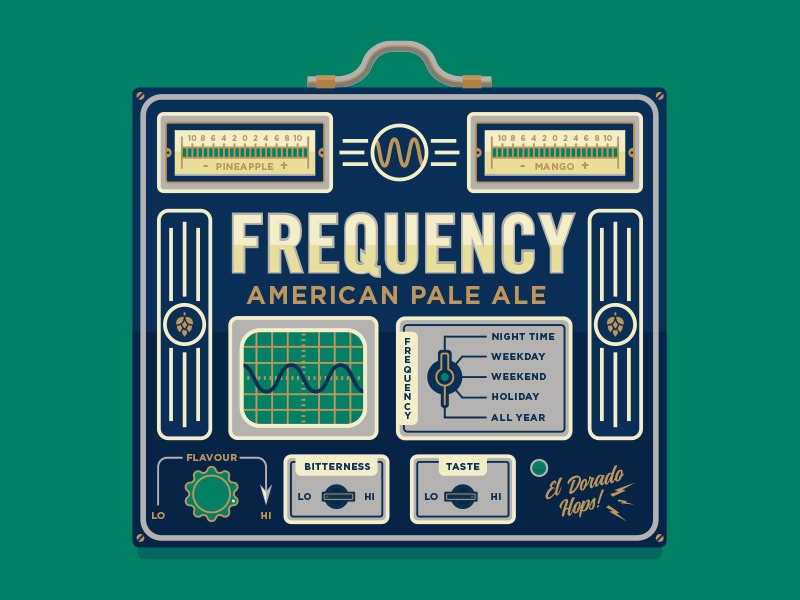 What's Yr Frequency? illustration craft beer hops electronic instrument dials frequency beer