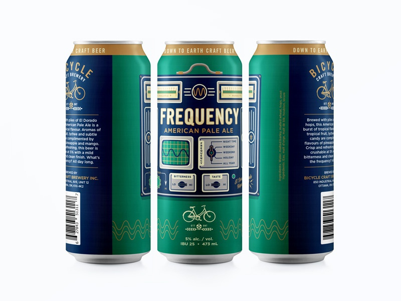 Frequency Can beer can branding identity logo barley hops cog bicycle craft beer