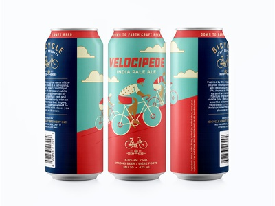 Velocipede Can cyclist sky craft beer clouds bike illustration ipa beer bicycle