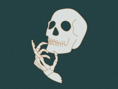 Just thinking 'bout stuff head illustration hand bones skull