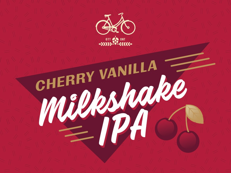 Cherry Milkshake IPA Label packaging illustration vanilla label milkshake cherry bicycle craft beer