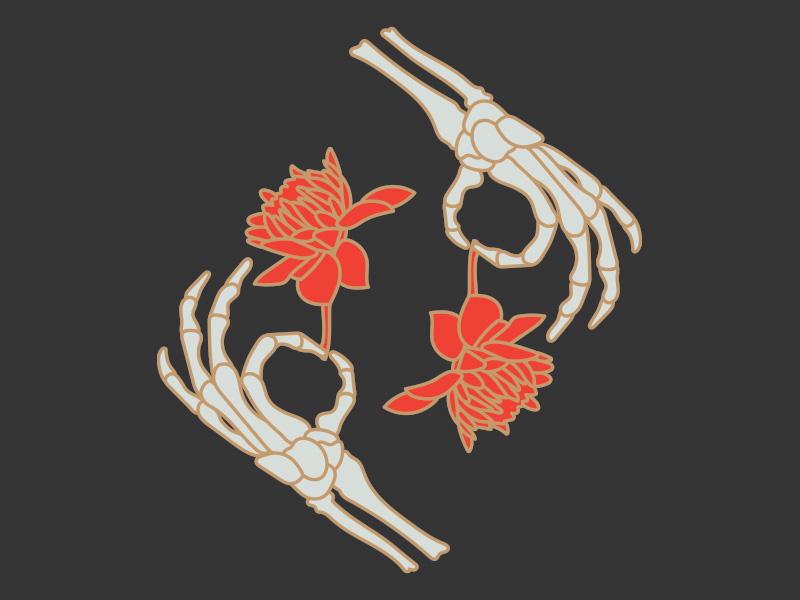 Death Flowers gold illustration hand skeleton dahlia flower
