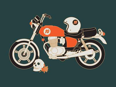 '79 Honda headlight lights bike illustration dahlia flower helmet death skull honda motorcycle