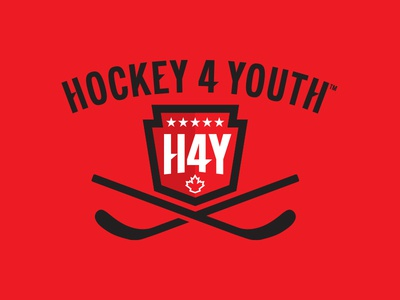 Hockey 4 Youth shield icon logo brand identity canadian hockey sticks youth hockey