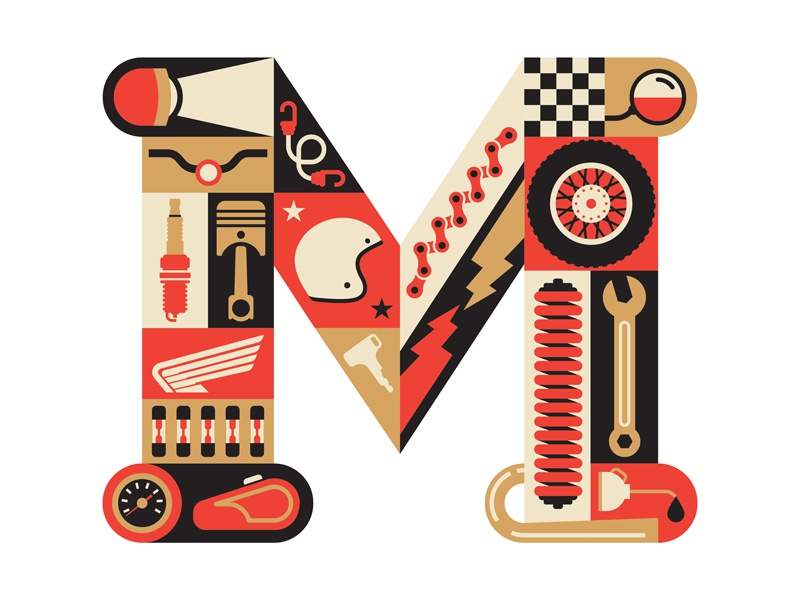 M is for Motorcycle 2.0 fun key chain mirror gas m illustration wrench wheel piston honda motorcycle