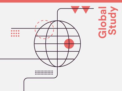 Illustration #2 globe triangle circle minimal lines illustration university