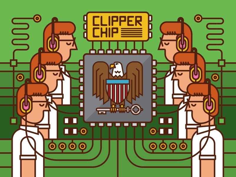 Clipper Chip computer art sheild eagle government agent circuitry circuit board nsa illustration microchip computer