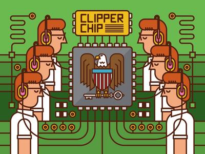 Clipper Chip computer art sheild eagle government agent circuitry circuit board nsa illustration microchip computer