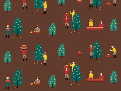 Pattern persimmon tree farmer patten design pattern vector doodle illustraion