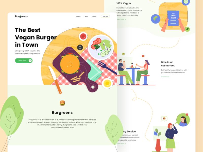 Burgreens Landing Page Exploration webdesign web vegan burger food illustration food landing page design header shop design vector illustration uid ui website landingpage