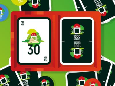 1000bornes 06d children kids boardgame game concept cardboard card jeu de société 1000bornes vector illustrator