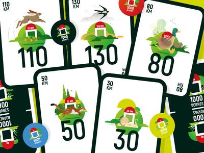 1000bornes weasel snail duke animals kids design cardboard cards carte jeu de société game vector illustrator illustration
