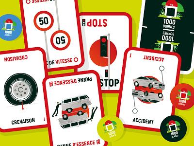 1000bornes accidents game car accident vector children enfants jeu kids cardboard cards cardgame jeu de société 1000bornes illustrator illustration