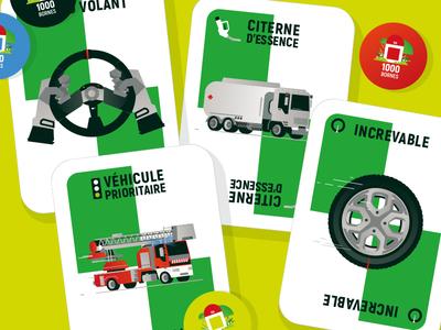 "1000Bornes ""dirty tricks"" firetruck truck kids design jeu concetp cardboard jeu de société cards gamers game vector illustrator illustration"