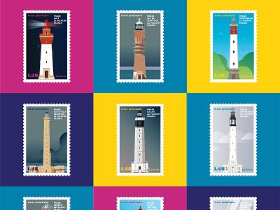 French Lighthouses 02 light vector atlantic ocean sea bretagne tourism phares lighthouses illustration