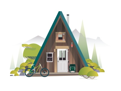 Wip Cabinsdiaries03 -Hiking Or riding wilderness hiking riding gfxmob illustration vector nature moutains cabins