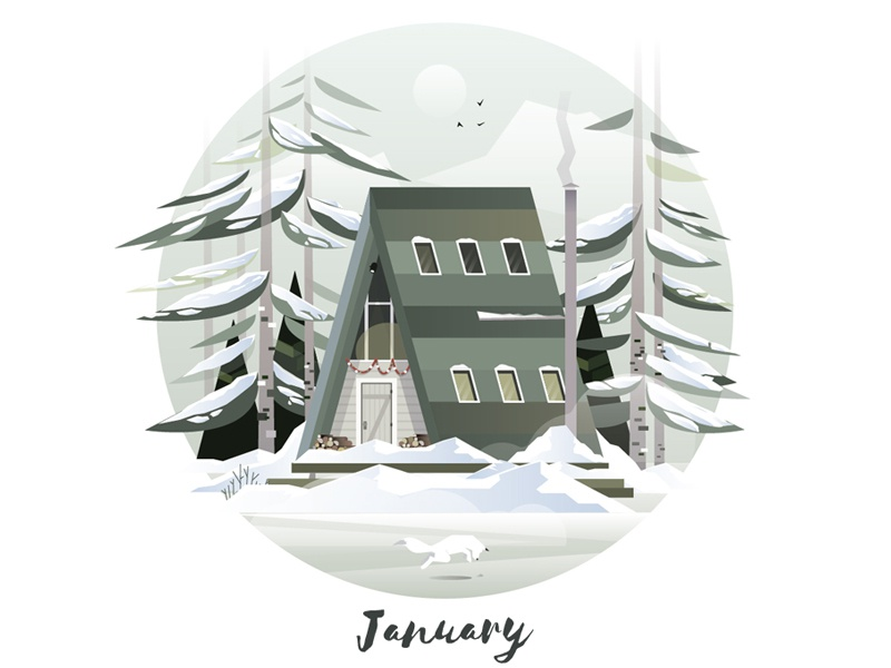 January Cabin wilderness freedom morning gfxmob hike nature mountains forest wood cabin illustration vector