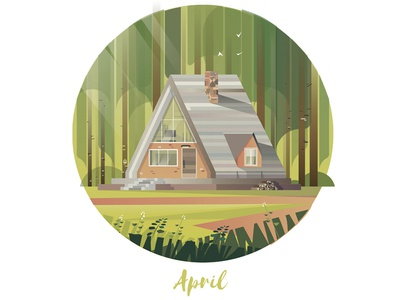 April Cabin green nature vector art cabins cabin wood forest vector