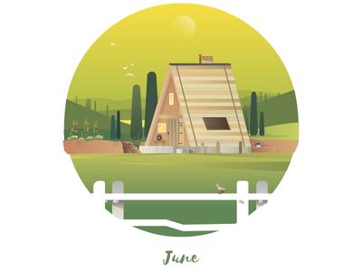 June Cabin cabins sky garden vector art nature landscape toscany vector