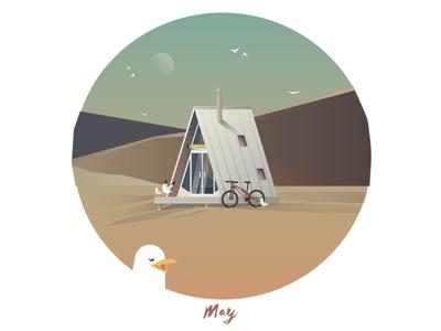 May Cabin sky cabin dune mountainbike biking seagull beach vector