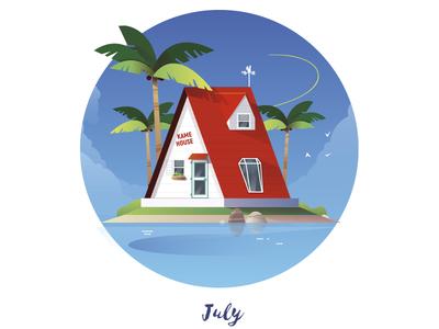 July Cabin sea sky nature island kamehouse dbz vector cabin
