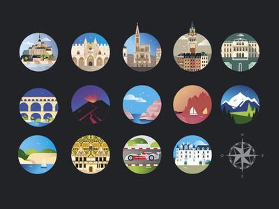 Famous places of France monuments illustrator france landscape place illustration vector