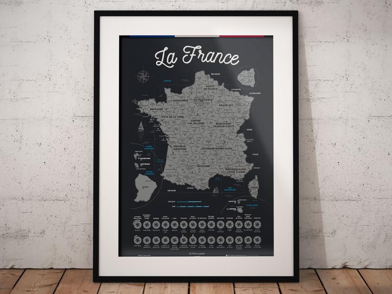 Scratchable Map Of France present cadeau gift paris france décoration déco poster travel voyage régions gastronomie pornfood foodies carte map