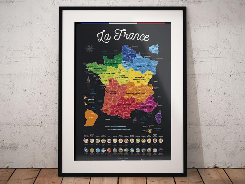 Scratchable Map Of France - Phase2 paris present gift gastronomie foodporn foodies design scratchable régions france travel voyage carte map