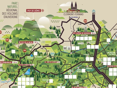 Carte Auvergne vector illustration randonnées hiking touristic map tourism gergovie mountains nature puy de dôme puy de dôme volcanoes volcans ferrand clermont auvergne map carte