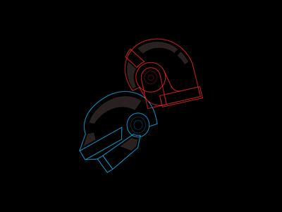 Daft Punk - Line Experimentation daft punk line art illustration line art