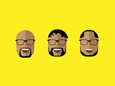 Three Wise Nerds black nerds avatar illustration