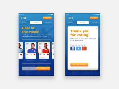 Goal Of The Week Concept App vote goal football soccer mobile