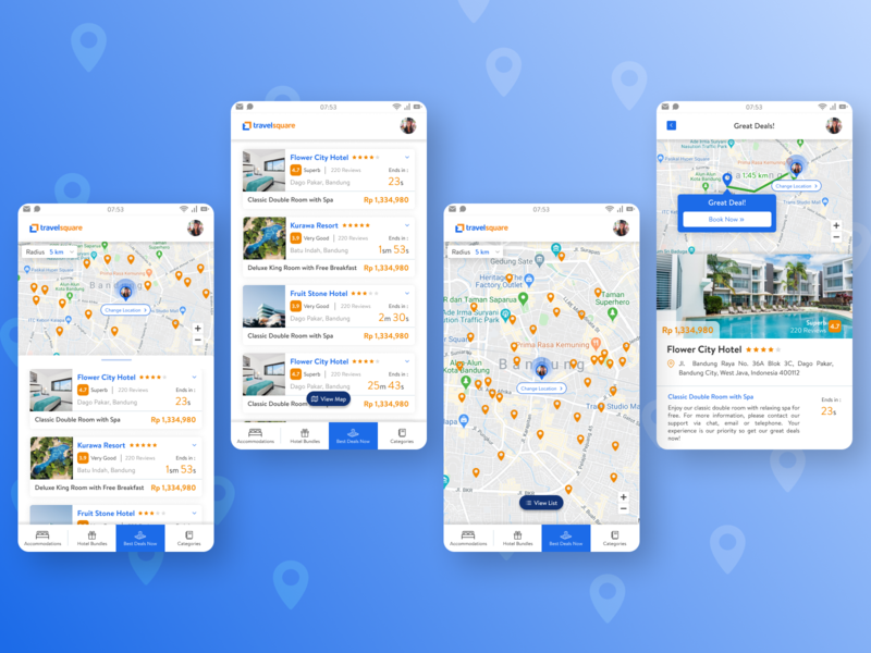 TravelSquare Mobile App - Best Deals traveling travel maps travel agency travel app hotel app location app commuting mobile app design mobile design mobile app mobile ui mobile ux clean ui blue clean design ui figma design