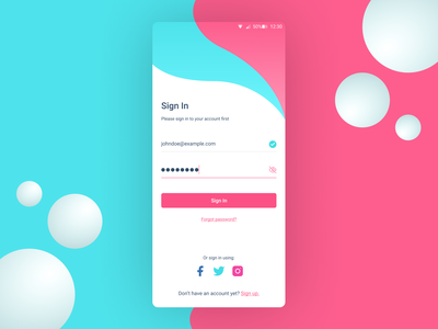 Pink and Blue Mobile Login Page mobile login login design login screen login form login page mobile app design mobile design mobile ui mobile app pink design illustration art ux vector blue clean ui clean design ui illustration figma