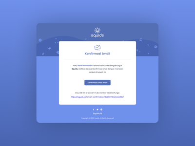 Squids - Email Confirmation Template blue clean ui email confirmation software saas ecommerce template design email template design email template email design email vector branding website design illustration art clean design ui illustration figma design