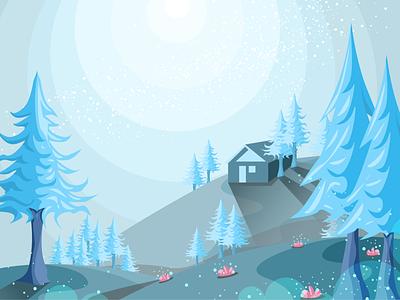 Sweet Summit house mountains trees blue moon moonlight stars nightsky night figma illustration art illustration