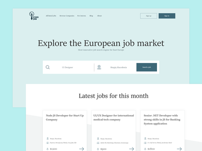 Simple job portal webdesign landing portal job web ui