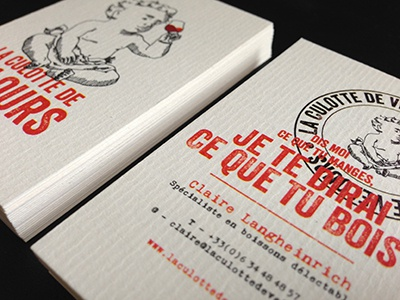 La Culotte de Velours - Business cards cards wine shop white