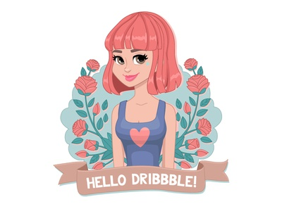 Hello Dribbble! vector colorful girly decorative illustration character girl dribbble hello debut