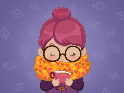 Autumn themed Coffee Cutie leaves cutie purple glasses coffee autumn girl lady character cute vector illustration