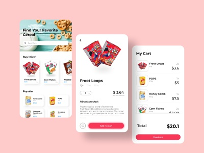 Cereal App cereal box mobile app cereal design ux ui