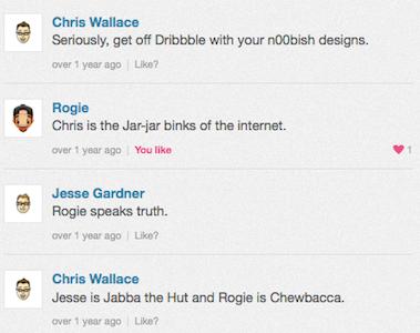 Great Dribbble Conversations smack talk conversation star wars