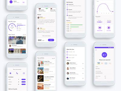 Artio - app design clean white layout app design ux culture guide travel mobile interface app ui museum