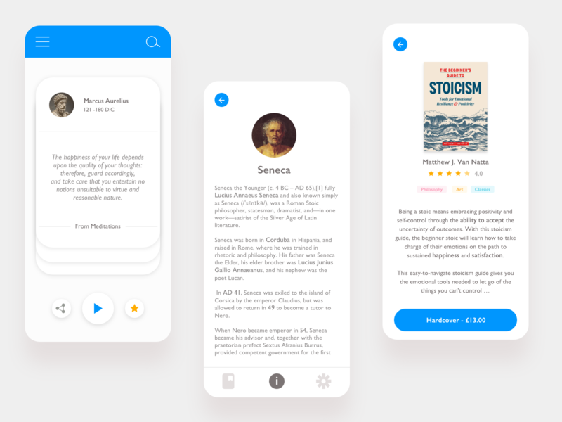 The Stoic - app design app design stoic learning platform iosapp stoicism mobile books quots clean white ios interface philosophy learning learning app app ui