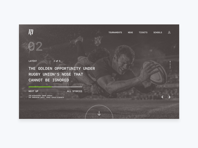 The Rugby Magazine Home Page sports branding lead interactive homepage visual design ui ux scrum transfer tickets tournaments news blog cards slider card responsive website sport rugby