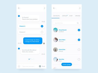 Mobile Chat App Design - free download interface mockup freebie web bot mobile app free messanger chat ios ui