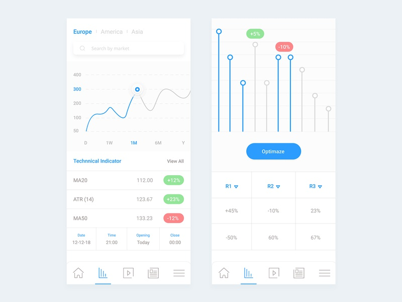 Fintech App UI finances report clean financial startup product app design analytics exchange trading cryptocurrency busines financial dashboard layout white interface ios ui