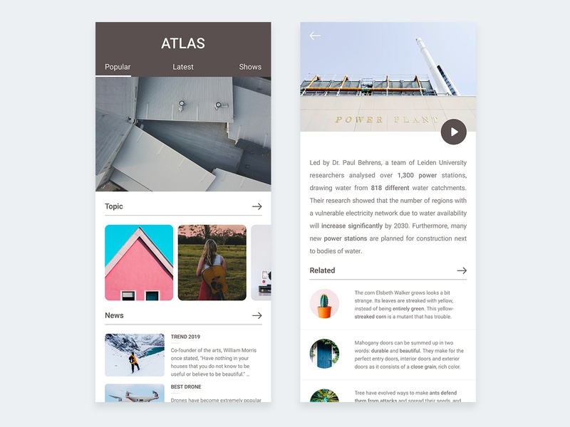 Atlas Magazine - app design sketch grid app design iphone mobile magazine news editorial concept layout white ios clean ui blog app